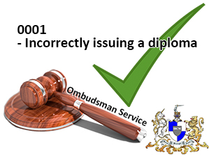 0001 Incorrectly issuing a diploma